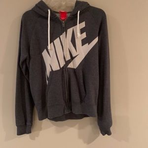 Nike - Zip Front Hoodie, Gray, Size M